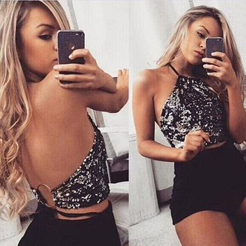 2018 Women Sequined Camis Sexy Backless Tank Tops Summer Camis Tops Halter Handmade Shiny Rhinestones Crop Top