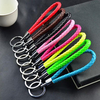 1 Pc Braided Fake Leather Strap Keyring Keychain Car Key Chain Ring Key Fob