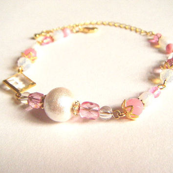 White cotton pearl and pink bracelet, pink and white bracelet, cotton pearl bracelet, white pink bracelet, gift for her, handmade jewelry.
