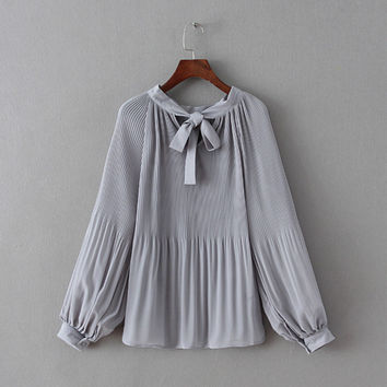 Solid Lantern Sleeve Pleated Chiffon Bow Blouse
