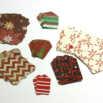 40 Christmas Gift Tags: Assorted Sizes and Colors of Handmade Gift Tags in Snowflakes, Stripes, and Cheverons Retail hang tags