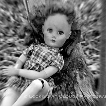 creepy doll art photo, spooky doll, eyes follow you, doll art, creepy cute, haunting eyes, more art for cool kids