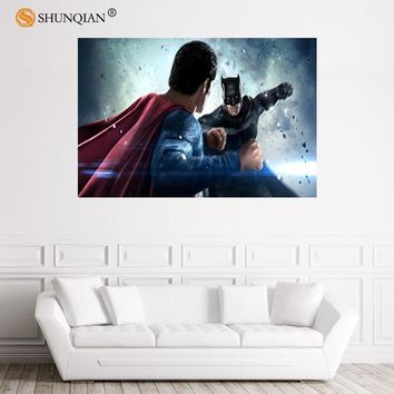 Batman Dark Knight gift Christmas Nice Batman and Superman 01 Poster Custom Satin Poster Print Cloth Fabric Wall Poster Print Silk Fabric Print Poster AT_71_6