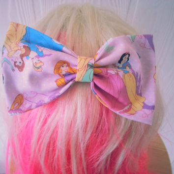 Hair bow / disney princess hair bow / princess hair bow / hair bow / girly hair bow / fabric bow / disney hair bow / Pink hair bow