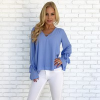 Touch The Sky Blouse in Powder Blue