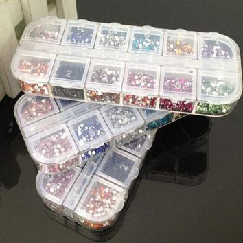 3600 pcs Rhinestones Nail Art Case Assorted Designs for Acrylic Tips UV Gel Deco