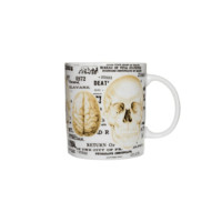 Human Anatomy Skull Mug In White/Multi Print | Thirteen Vintage