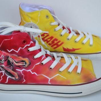 Painted Flash Shoes, Custom Painted Mens Converse, The Flash Converse, Custom Sneakers