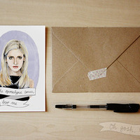 Buffy the Vampire Slayer watercolor portrait greeting card Buffy Summers