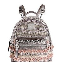 MCM Women's Crystal Tweed Mini Backpack