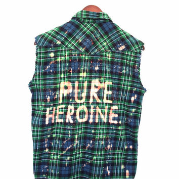 Pure Heroine Shirt, Lorde Inspired in Plaid Flannel Sleeveless