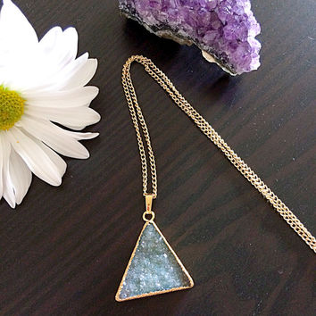 Gorgeous Triangle shaped Natural Druzy Stone Pendant. Necklace. Electroformed Gold Dipped.