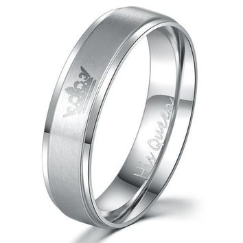 """His Queen"", ""Her King"" Stainless Steel Couple Rings"