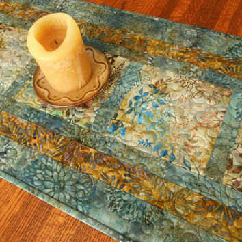 Quilted Batik Table Runner in Blue and Brown with Leaves and Flowers, Batik Table Mat, Quilted Table Topper, Quilted Tablecloth