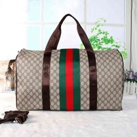 "Hot Sale ""Gucci"" Stripe Letter Print Print Women Travel Luggage bag Leather Shoulder Bag Satchel Handbag I"