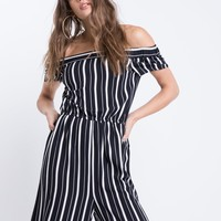 B&W Off Shoulder SS Jumpsuit