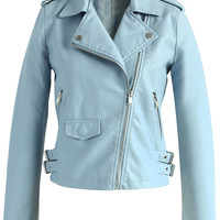 Chicwish Faux Leather Biker Jacket in Pastel Blue