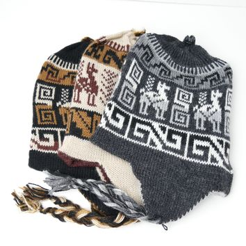"10 Assorted Reversible ""Chullo"" Hats Two In One (Unit Price $ 4.5) Unique Designs Unisex"