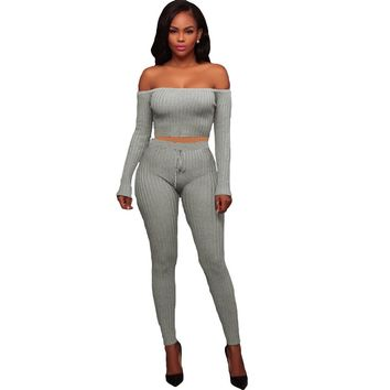 Sexy Women Two Piece Set Crop Top Leggings Solid Ribbed Off Shoulder High Waist Slim Club Wear Green/Grey/Black/White/Coffee/Red