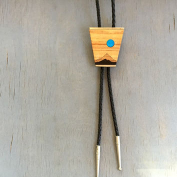 Vintage Bolo Tie Turquoise Wood Inlay 1970s Mens Accessories