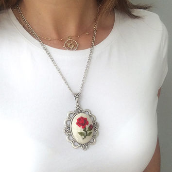 rose necklace, hand embroidered rose pendant, Cross Stitch