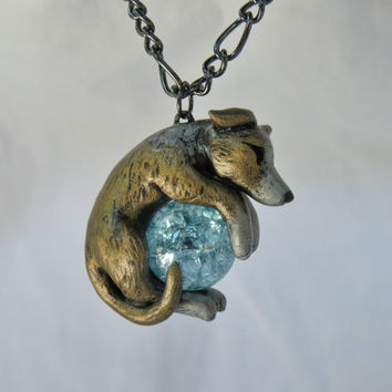 Greyhound Whippet Italian Necklace Custom Polymer Clay Handmade