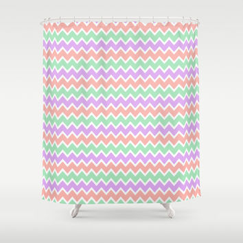 Coral Peach Pink and Lavender and Mint Green Chevron Shower Curtain by decampstudios