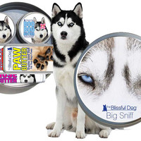 SIBERIAN HUSKY Big Sniff Dog Gift Set for Dry Noses, Rough Paws, Elbow Calluses and Husky Discomforts All with Husky Labels in Gift Tin Case