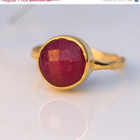 CLEARANCE - Ruby Ring - Gemstone Ring - Gold Ring - Bezel Set Ring - July Birthstone ring - Stackable ring -