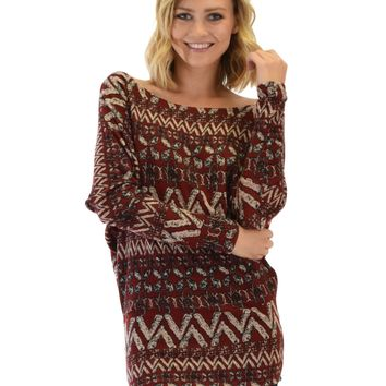 Lyss Loo Contemporary Long Sleeve Patterned Burgundy Dolman Tunic Sweater Top