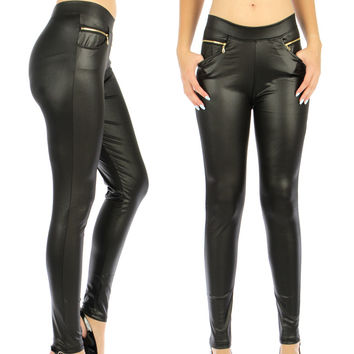 Rockabilly Goth Trendy Zipper Pocket Black Liquid Leggings