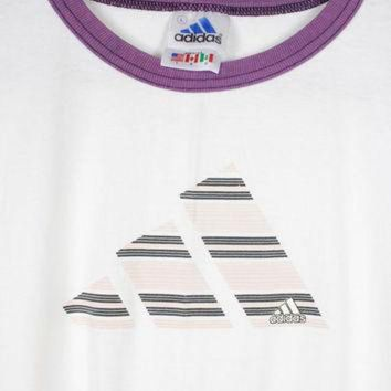 DCK7YE 90s ADIDAS ringer tee - vintage 1990s t-shirt - retro athletic - white pink purple