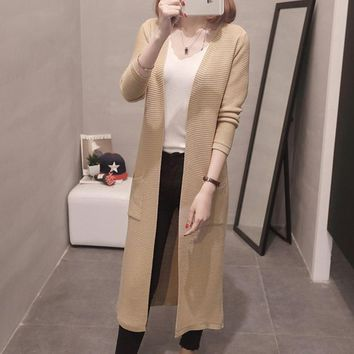 Womens Cashmere Long Cardigans Autumn Winter High Quality Female Solid Sweaters And Cardigans Open Stitch Knitwear With Pockets