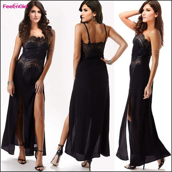 FeelinGirl Black Floral Lace Print Evening Party Dress Spaghetti Strap Harness Gown Ball Long Dresses = 1696614020
