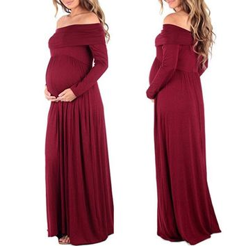 New Women Cowl Neck Off Shoulder Long Sleeve Solid Color Maternity Dress Pregnant Photography Maternity Clothes