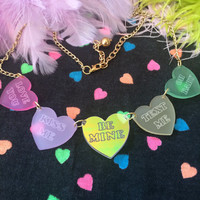 Valentine's Conversation Heart Charm Necklace
