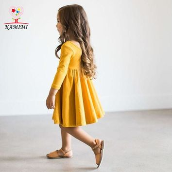 Kamimi 2017 Spring Party Dress Elegant Forest style Princess Girls Dresses Fashion Baby Kids Soft Dress Newborn Toddler Clothing