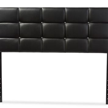 Baxton Studio Bordeaux Modern and Contemporary Black Faux Leather Queen Size Headboard  Set of 1