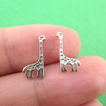 Small Giraffe Silhouette Shaped Stud Earrings in Sterling Silver