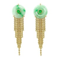 Ana de Costa jade green diamond gold tassel earrings