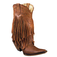 Premier Ladies Cowboy Western Leather Fringe Boots & Studs