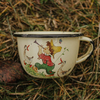 Tiny Boy & Geese Cup / Cute Soviet Vintage Enamel Cup for Children / Little Musician Picnic, Camping, Traveling Pastel Tea Cup