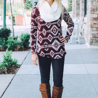 Tribal Printed Knit Long-Sleeve Raglan Tunic (Wine)