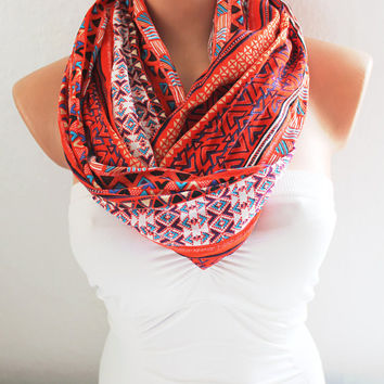 Infinity Scarf Loop Scarf Circle Scarf Cowl Scarf Red Aztec Pattern