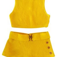90s Matching Crop Shorts Set Vintage Top Yellow