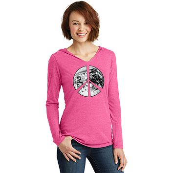Buy Cool Shirts Ladies Peace T-shirt Earth Satellite Symbol Tri Blend Hoodie