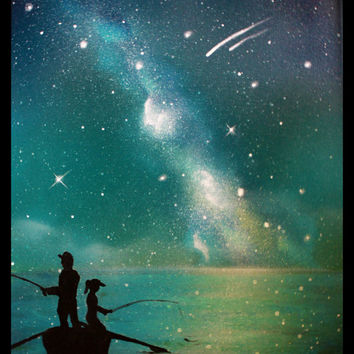 Father Daughter Silhouette Art - Painting - Son - Fishing at the Lake - Painting - Stars - Galaxy - Spray Paint Art on Csnavas