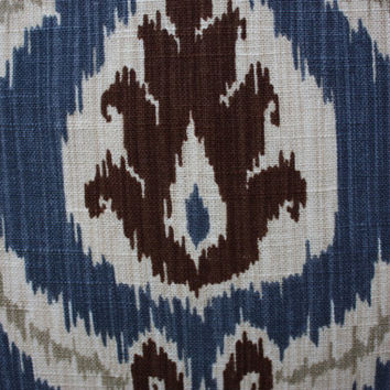 Wedgewood Blue Ikat 20x20 Decorative, Designer Throw Pillow Cover with Brown, Grey and Natural