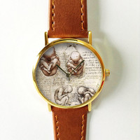 Fetus in a Womb Watch , Da Vinci Drawings , Vintage Style Leather Watch, Mens Watch, Women Watches, Boyfriend Watch, Gold Silver Rose