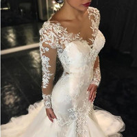 New Arrival Lace Long Sleeve Mermaid Wedding Dress Sexy Tulle Appliques Beading Sweep Train